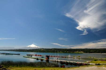 Lago Villarica with Volcano Villarica, Chile