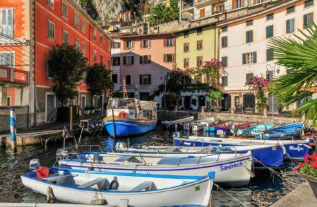 Harbour of Limone at Lake Garda
