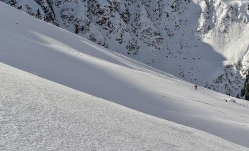 Ski touring with fresh powder