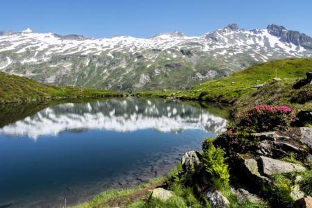 Mirror lake in Austrian Alps