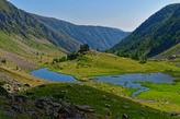 Rückblick auf das Rifugio Miglierero mit dem Lago inferiore del