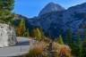 Berge, Herbst, Mangart, Slovenia, Slowenien, Strasse, Wald, autumn, forest, lärche, mountains, street